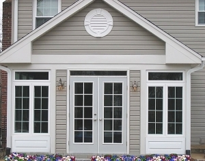 Dutch Lap Siding with Attic Vent and Window Trim